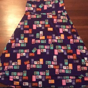 Lularoe XS skirt purple with cassette tapes